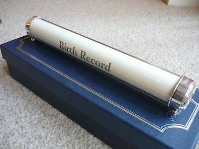 Superb Sterling Silver Birth Record Holder By Broadway & Co