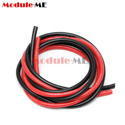 10 AWG Gauge Wire Silicone Flexible Copper Stranded Cables For RC Black Red M