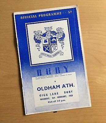 1957/58 BURY v OLDHAM ATHLETIC : 8th February 1958 (Saturday after Munich)