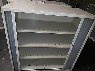 Large Beige Tambour lockable Cabinet storage (with key)