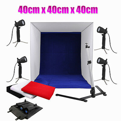 Portable 4x 50W Soft Tent Cube Box Light Photo Studio Softbox Lighting Backdrops