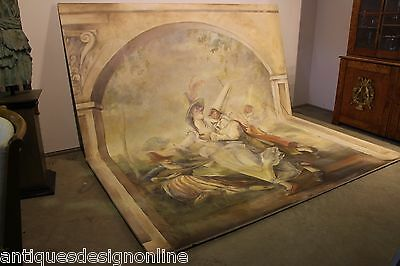 Large oil on canvas trumeau WALL MURAL genuine original painting antique french