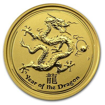 2012 Year of the Dragon 1/10 oz 9999 Fine Gold Coin Great gift