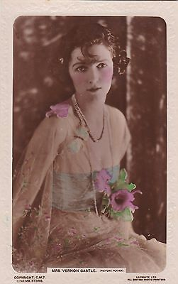 Old Postcard Glamour Woman Actress Vernon Castle Hairstyle Flowers Fashion My46