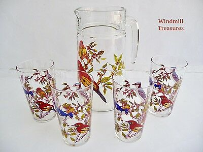 Set Of 4 French Tumbler Glasses & Matching Jug With Bird Design - Fab