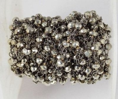 5 Feet Steel Pyrite Faceted Beads in Black Wire Rosary Beaded Chain Beads 3-4mm