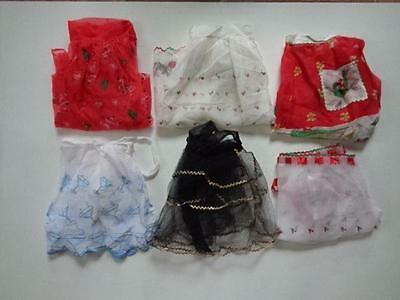 Vintage Lot Of 6 Holiday Half Aprons Sheer Netted Embroidered Christmas Santa