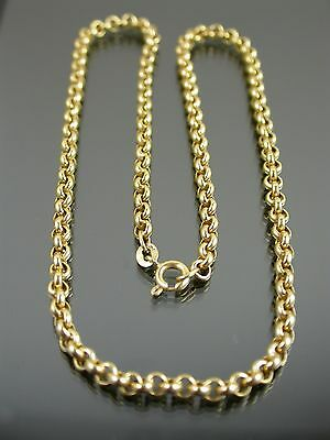 VINTAGE 9ct GOLD ROLO LINK NECKLACE CHAIN 15 1/2 inch C.1998