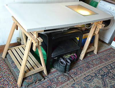 Draughtsman sketching Table for Artist Drafting Crafting with glass window lamp