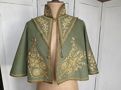 Vintage Antique Green Wool Cape Capelet Gilt Metal Embroidery Evening Military