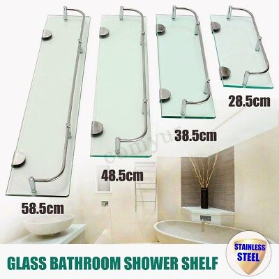 Glass Bathroom Shower Shelf Glass Shelf Rack Holder Wall Mounted Caddy Organizer