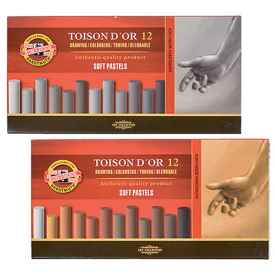 Koh-I-Noor Toison D'Or Artist Round Soft Pastel Set of 12 Grey or Brown Colours