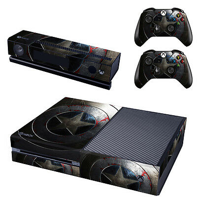 XBox One Console Skin Sticker Protector New Captain America + 2 Controllers