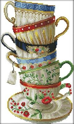 Elegant Coffee Cup. 14CT counted cross stitch kit. Craft brand new.
