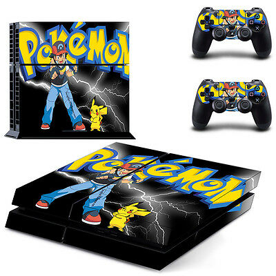 Sony PS4 Playstation 4 Console Skin Sticker New Pokemon + 2 Controllers