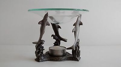Dolphin Oil Warmer Burner Pewter w Three Dolphins Aromatherapy Nautical Decor