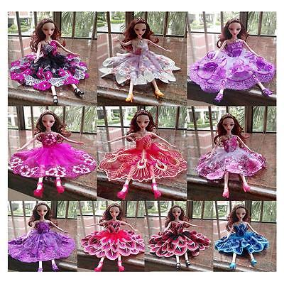 10x Embroidered Wedding Gown Dresses Party Outfit for Barbie Doll Xmas Gifts