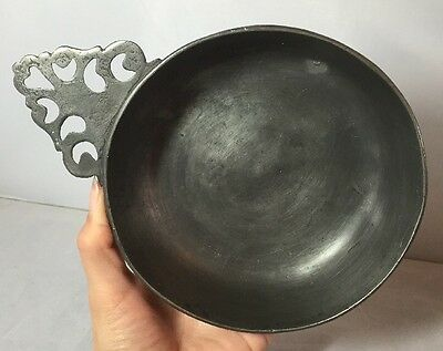 Antique Pewter Porringer Bowl with Handle From France Possibly Early Stamped