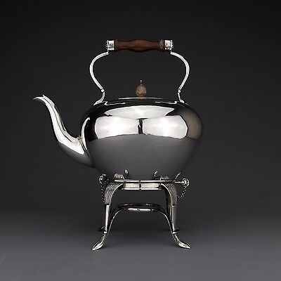 Ornate Antique English Solid Sterling Silver Tea Kettle on Stand, Sheffield 1910