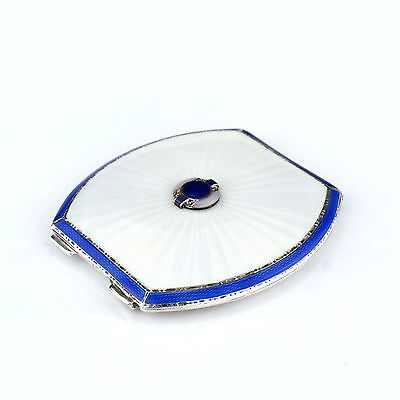 Antique Solid Sterling Silver Blue & White Enamel Vanity/Compact Case, Birm 1937