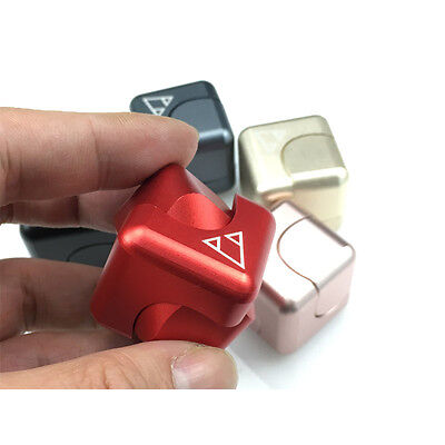 New Cube Hand Spinner Metal Tri Fidget Focus Tool Desk Toy EDC Cube Square Gift
