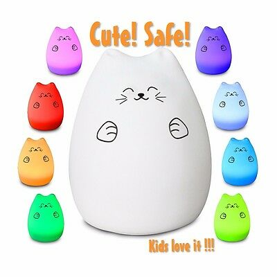 Fortune Cat LED Baby Night Light, Eco-Frendly Silicon Material, Brand New.