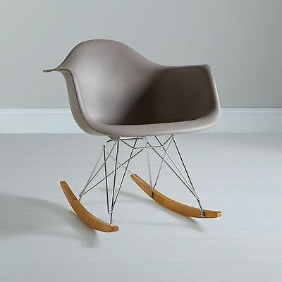 Charles Eames inspired RAR Plastic Rocking Chair for home or office - Mauve Grey