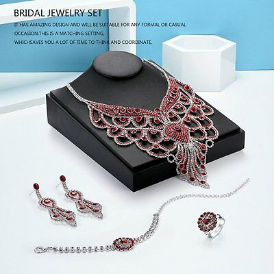 Crystal Necklace Earrings Bracelet Ring Wedding Accessories Bridal Jewelry Set S