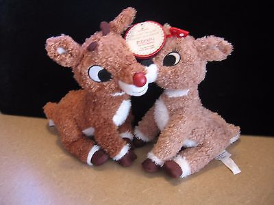 New Hallmark Plush Rudolph & Clarise Magnetically Activated Voice, & Light
