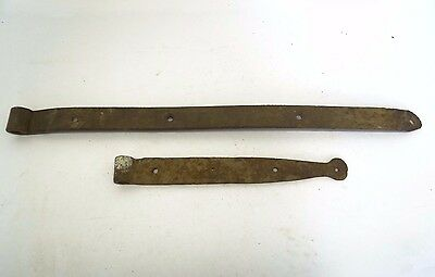 Antique Old Iron Hand Forged Rustic Barn Door Supports Hinges Straps Hardware