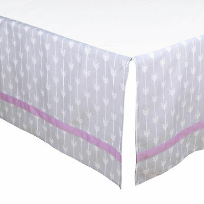 Grey Arrow Tailored Crib Dust Ruffle with Purple Stripe by The Peanut Shell