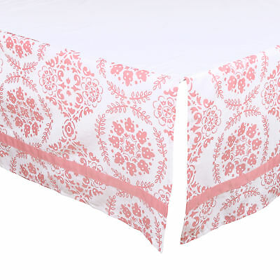 Coral Pink Medallion Tailored Crib Skirt Dust Ruffle by The Peanut Shell