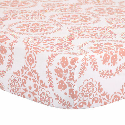 Coral Pink Medallion Print 100% Cotton Fitted Crib Sheet by The Peanut Shell