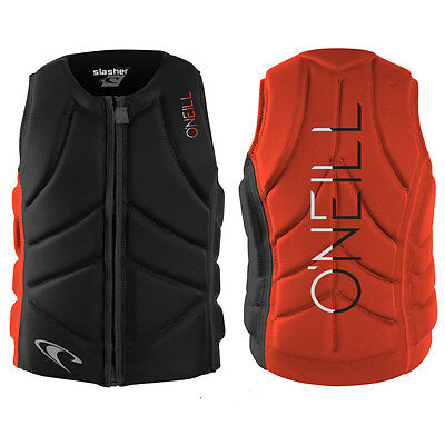 2017 O'Neill Slasher Comp Mens Front Zip Comp Vest Black Neon Red