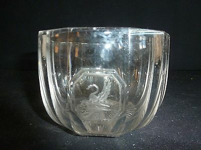 Antique Engraved Heavy Glass Tea Caddy Mixing Bowl