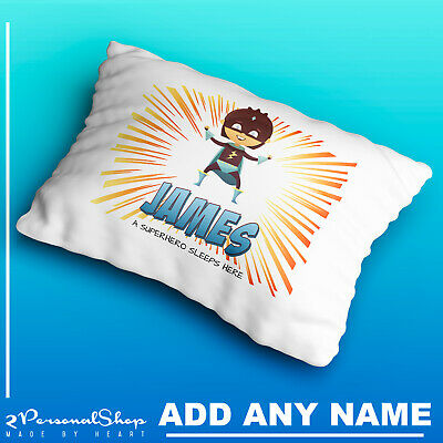Personalised Children Superhero Pillow Case Printed Gift Custom Made Print 101
