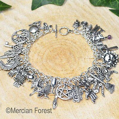 Pagan Charm Bracelet with 41 Charms - Wicca, Witch, Pentacle, Goddess, Jewellery