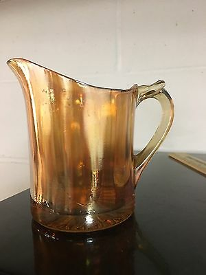 Carnival Glass Antique Vintage Amber Gold Yellow Syrup Pitcher Creamer Heavy