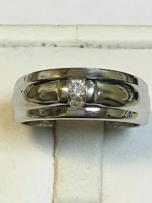 Heavy 9 Carat White Gold GENTS DIAMOND SET BAND Ring