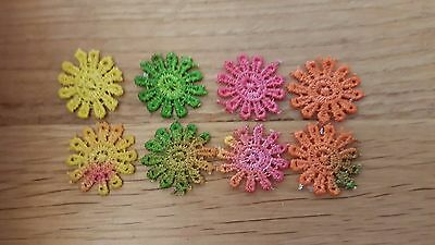 Miniature rainbow doilies 1:12th scale dolls house modern  lace table mat UK