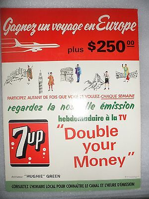 "Vintage 1965 7up Pop Soda Display Europe Contest Poster 7-Up UnCola 12"" x 18"""