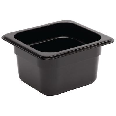 Vogue Black Polycarbonate 1/6 Gastronorm Container Kitchen Food Storage