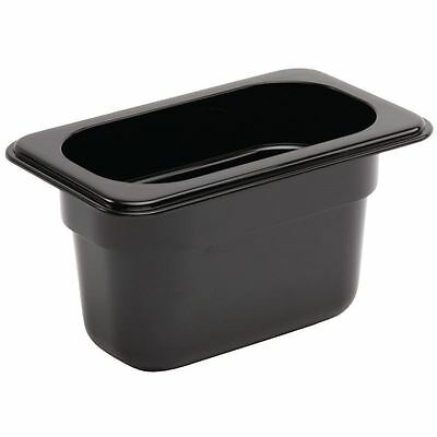 Vogue Black Polycarbonate 1/9 Gastronorm Container Kitchen Food Storage