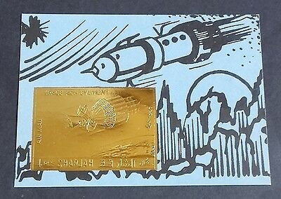 Bloc OR Neuf ** MNH ( GOLD Stamp ) - Sharjah - Exploration de l'espace Space