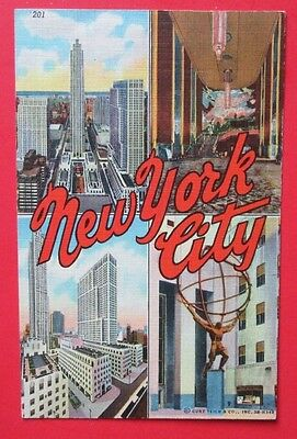 Multi Picture New York City NY Posted Curteich Linen Postcard