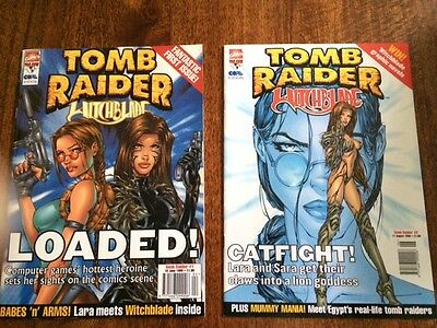 Tomb Raider Witchblade official magazine comic book Top Cow Issues 1 and 2