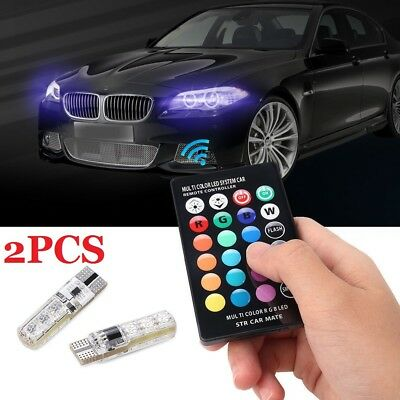 T10 5050 6 SMD LED Car Side Light RGB Bulbs Changing Colour Remote Controller UK