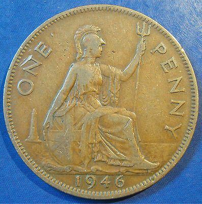 1946 1d ONE' dot variety George VI Penny - very scarce coin
