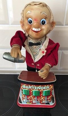 Vintage Battery Operated Bartender Toy For Restoration