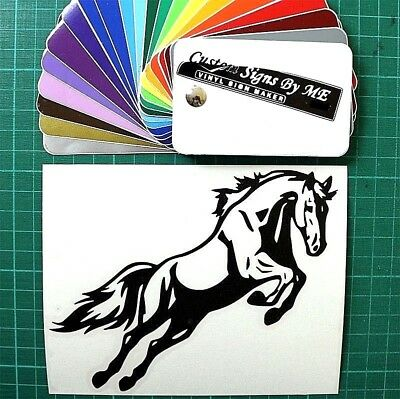 Funny BLACK JUMPING HORSE VAN CAR SIGN SIDE WINDOW TAILGATE BUMPER Sticker Decal